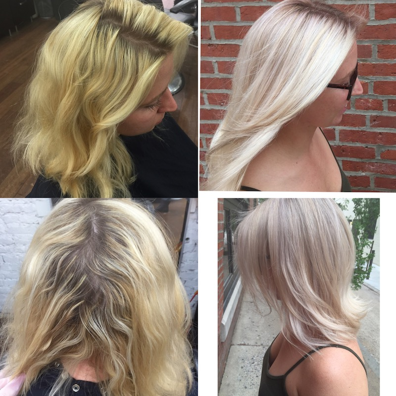 before and after blonde correction